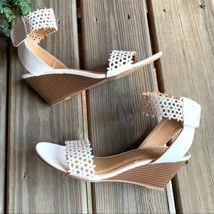 XOXO Shoes - XOXO White Laser Cut Ankle Strap Wedge Sandals